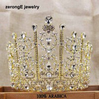 zerongE jewelry5.1 inch tall pageant drop wedding tiara silver lady bridal tiara hair jewelry band miss world event tiara crown