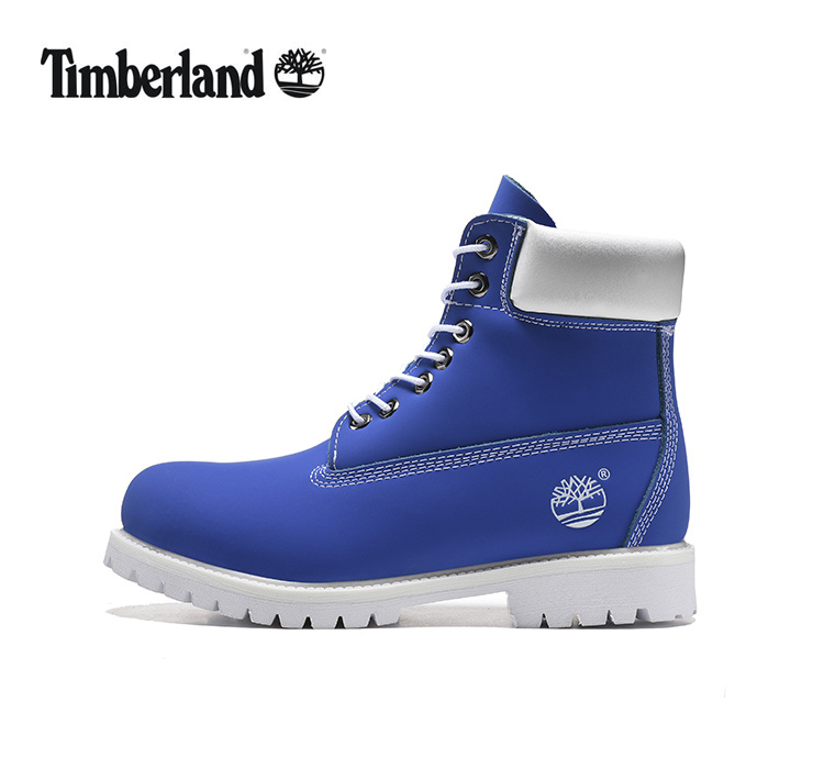 TIMBERLAND Women 10061 Sky Blue White Fashion Motorcycle Martin Ankle Army Boots,Woman Girl Leather Street Casual Shoes 36-40