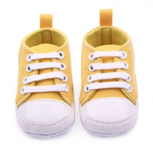 Купить с кэшбэком 12 Colors  Infant 0-12Months Toddler Canvas Sneakers Baby Boy Girl Soft Sole Crib Shoes