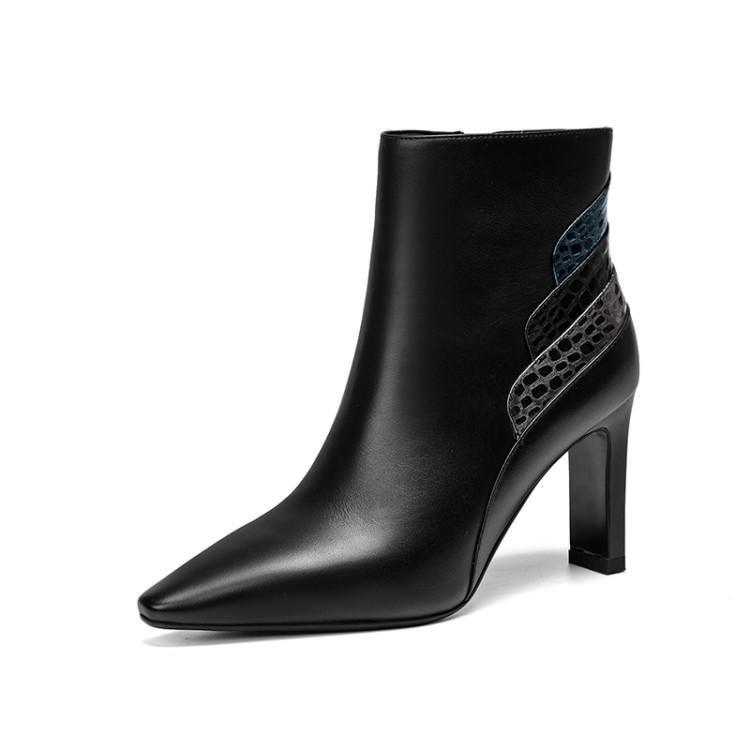 Pointu Hauts Zapatos Chic Bottes Femme Chaussons Bout Chaussures Femmes D  hiver Carré Mujer Cheville Concise Pour Talon Dames Patchwork Talons Noir  qTXzaw0 be0af39436d5
