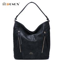 DUSUN New Fashion Women Ruched Snakeskin Texture Handbag Vintage High Capacity Shoulder Bags Women Soft Brand