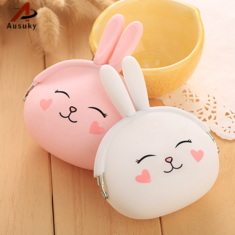 coin purse Cute Rabbit Silicone Coin Purse Women's Wallet Character Bag Ladies Candy Color wallet women 50 cute rabbit silicone soft case