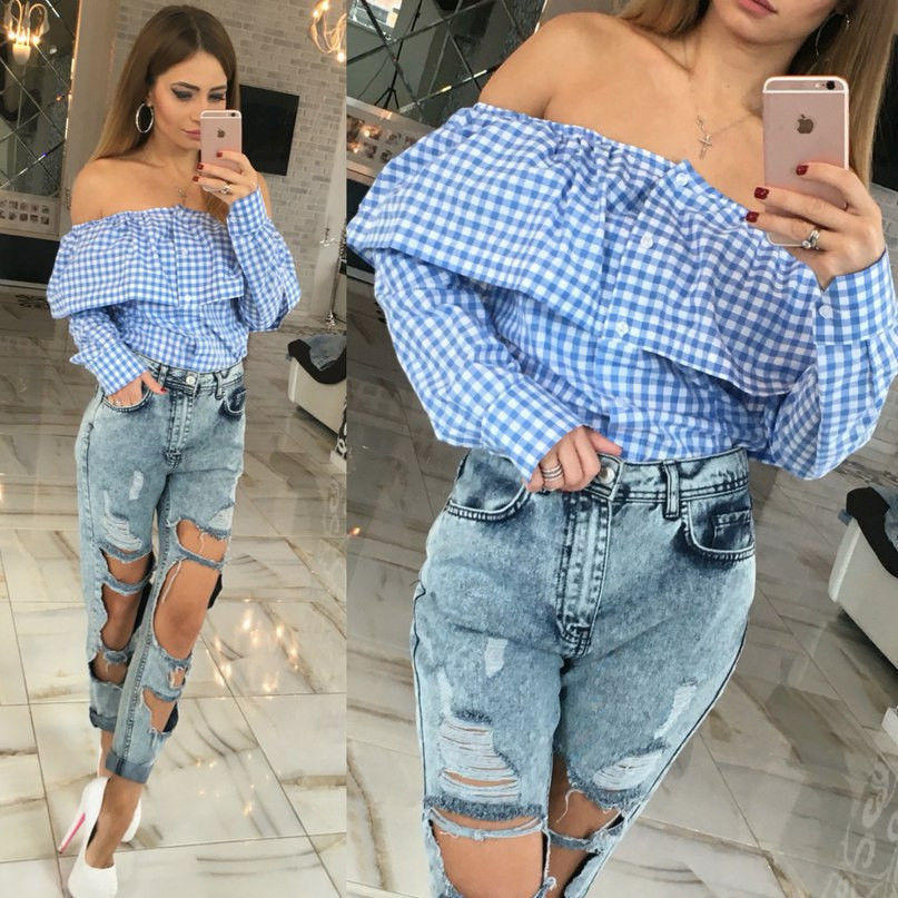 b596c517d3f871 Blouses Shirts Women Long Sleeve Shirts Puff Slash Neck Shirt Strapless Off  Shoulder Ruffles Feminine Blouses Ladies TopsDY023-in Blouses   Shirts from  ...