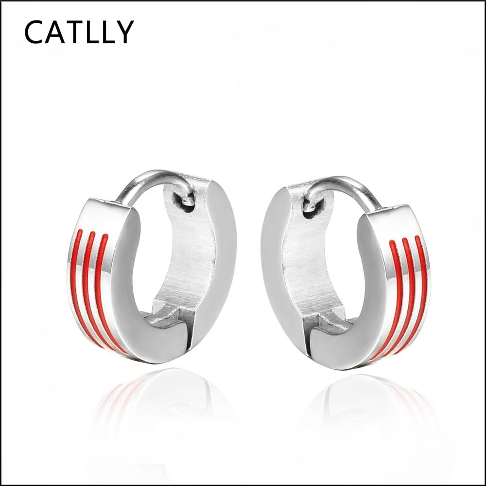 Unisex jewelry Red strips Earrings For Women & Men Trendy Style Men Earrings Jewelry wholesale