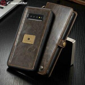 Оригинальный чехол CaseMe для Samsung Galaxy S10 Plus, Магнитный съемный чехол-бумажник из натуральной кожи в стиле ретро для Samsung S10/S10e, чехол