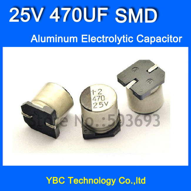 Free Shipping 100pcs/lot <font><b>25V</b></font> <font><b>470UF</b></font> <font><b>SMD</b></font> Aluminum Electrolytic Capacitor 10*10.3MM image