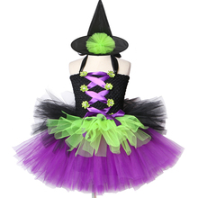 Girls Witch Tutu Dress with Hat Black Purple Green Kids Halloween Carnival Costume Children Girl Fancy Party