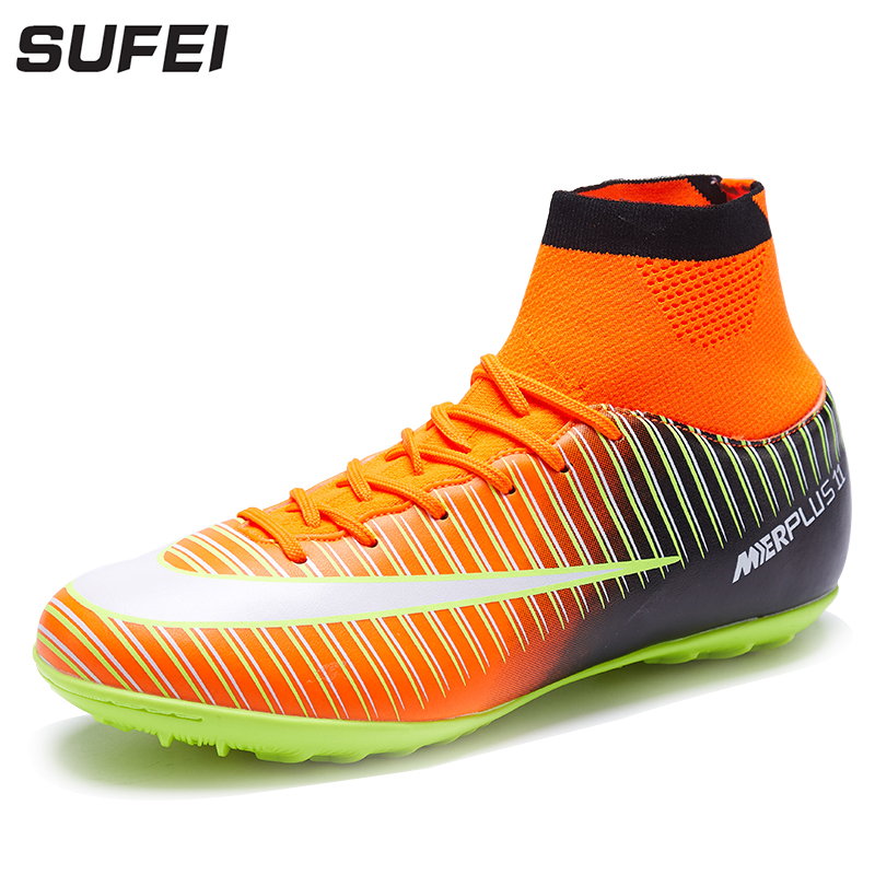 2a236f0ba Sufei Football Boots Men Superfly Soccer Shoes Kids TF High Ankle Hard  Court Cheap Futsal Sock