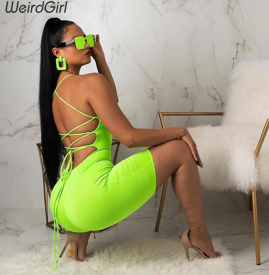 Weirdgirl женские костюмы неоновый зеленый модные, пикантные выдалбливают спинки фитнес тонкий эластичный без бретелек femme брюки для девочек повязк