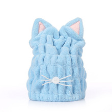 Cap Drying-Towel Head-Wrap-Hats Bath-Accessories Microfiber Womens Cute Solid Cat Coral