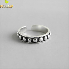 Flyleaf 925 Sterling Silver Rings For Women Beaded Surface High Quality Femme Fashion Fine Jewelry Simple Open Ring Vintage flyleaf 925 sterling silver rings for women high quality simple cross weave fashion open ring vintage femme fine jewelry gif