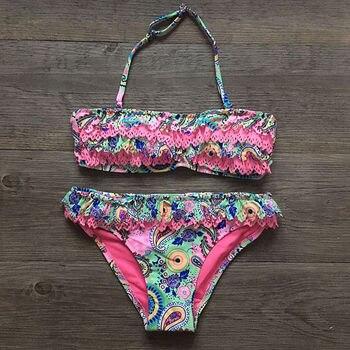 Girls Hollow Falbala Swimwear Swimsuit Bikini Brazilian Children Split SwimWear Bikini Set 2020 New Biquini Biquine Bathing Suit 2