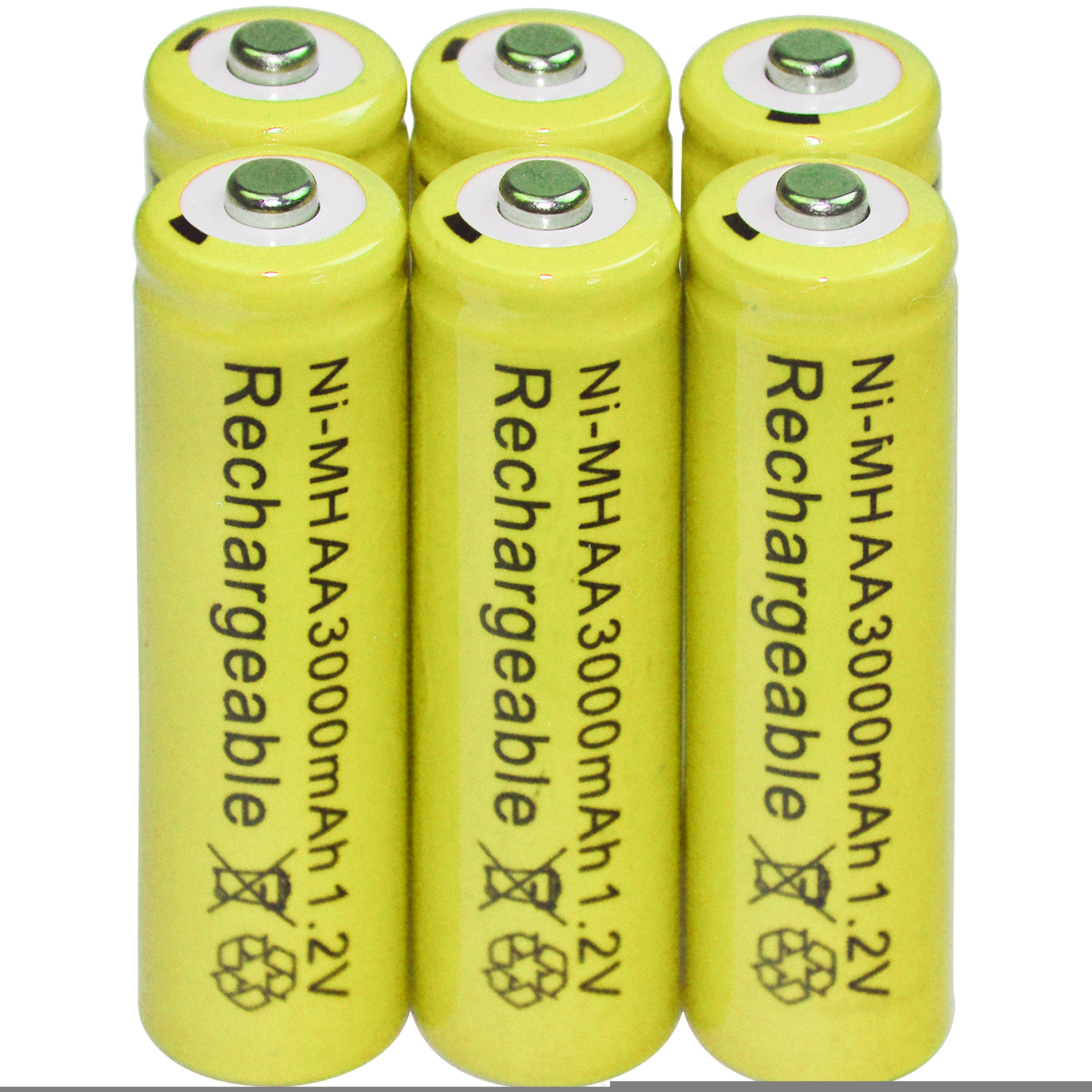 6x AA 2A 3000mAh 1.2V Rechargeable batteries Yellow Bulk Nickel Hydride NI-MH for toys lights стоимость
