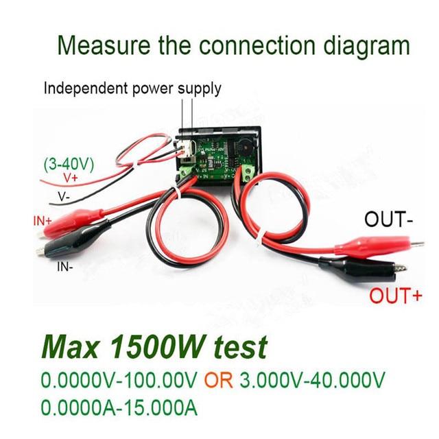 US $13.5 |100V 15A Electric Energy Tester DC Voltmeter Ammeter Current on