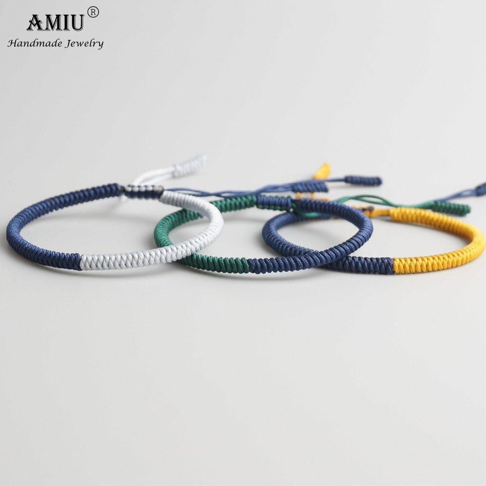 AMIU 3PCS Tibetan Jewelry Buddhism Good Lucky Charm Tibetan Bracelets & Bangles For Women And Men Handmade Knots Rope Bracelet