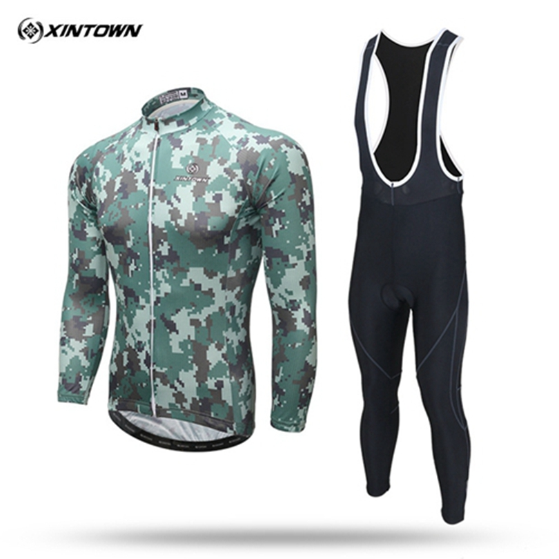 XINTOWN Camouflage Winter long-sleeved Fleece Thermal Cycling Jersey Pants Set Bike Bicycle Ropa Ciclismo Cycling Clothing Wear xintown men winter team ropa ciclismo outdoor cycling jersey bike bicycle jersey jacket long bib pants set 3 color option