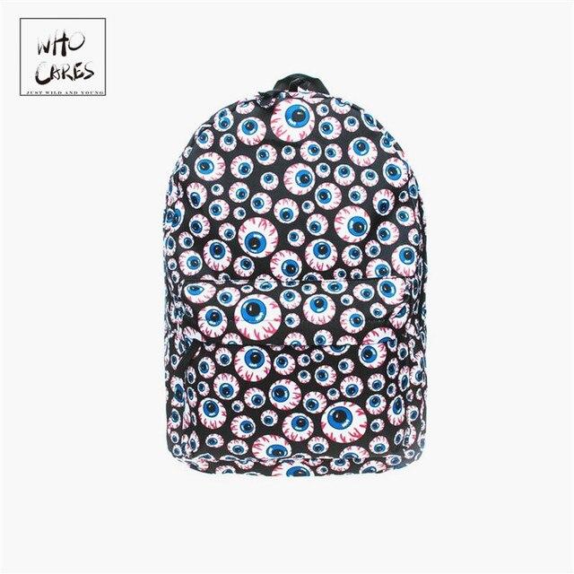 Branch Eyes 3D Printing Backpack Preppy Style Blue Softback For School Student Back Pack Hip-Hop Mochila Feminina