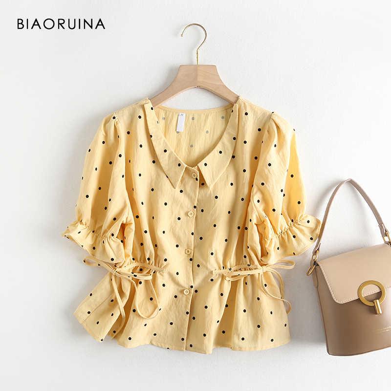 3 色 BIAORUINA 女性スウィートポルカドットプリントシャツフレア半袖オフィスレディカジュアルシングルブレスト夏トップス
