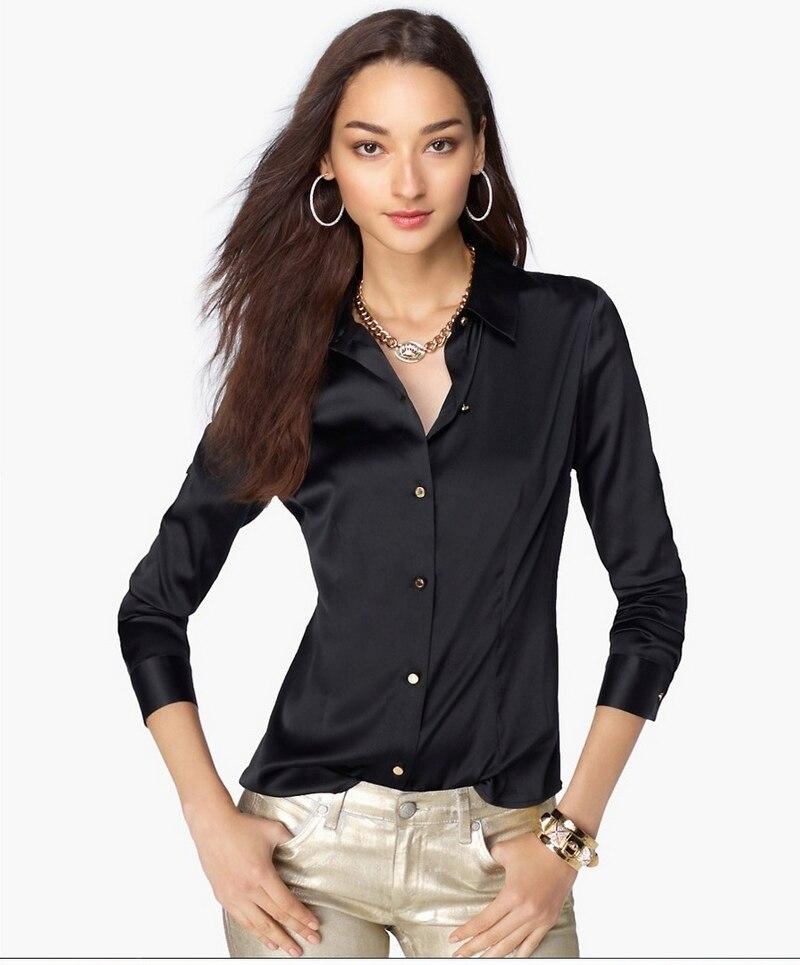 High Quality Elegant Women's Long Sleeve Blouse Silk Satin Tops Female All-match Casual Office Plus Size Shirt S-XXXL