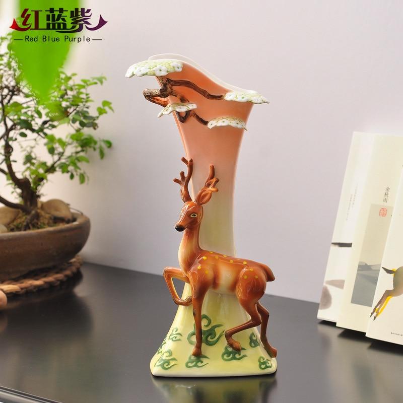 Высокая Температура стрельбы нежные гладкие Эмаль Фарфор творчества домашнего украшения с оленями современный домашний Керамика ваза
