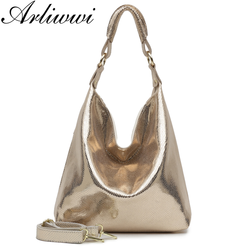 Arliwwi Brand High Quality Real Leather Women Large Shoulder Handbags Fashion Casual Style Gold Messenger Bags
