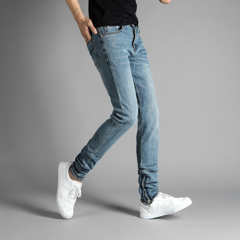 European American High Street Fashion Mens Jeans Blue Color Elastic Denim Ankle Zipper Jeans Pants DSEL Brand Skinny Jeans Men