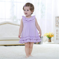 2017 Latest 100% Cotton Purple Baby Girl Dress For 6M 1 2 Old Kids Vestidos Fashion Baby Clothes 2017 Summer ABD164002