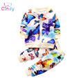 2017 new fashion spring childern leisure clothing set baby girls Colorful butterfly movement suit kids long-sleeves clothes suit