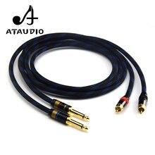 ATAUDIO 1 пара Hifi мм 6,35 мм к RCA кабель Высокое качество 4N OFC двойной мм 6,35 мм штекер Двойной RCA мужской аудио кабель