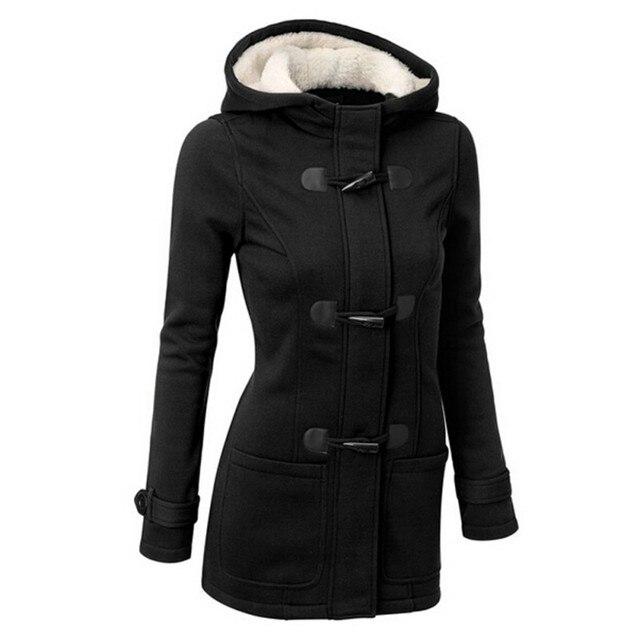 Herbst Winter Frauen Dicke Wolle Mantel Kapuzenjacke Parka Trench Peacoat Zweireiher Warme Kleidung 4 Farben PY1
