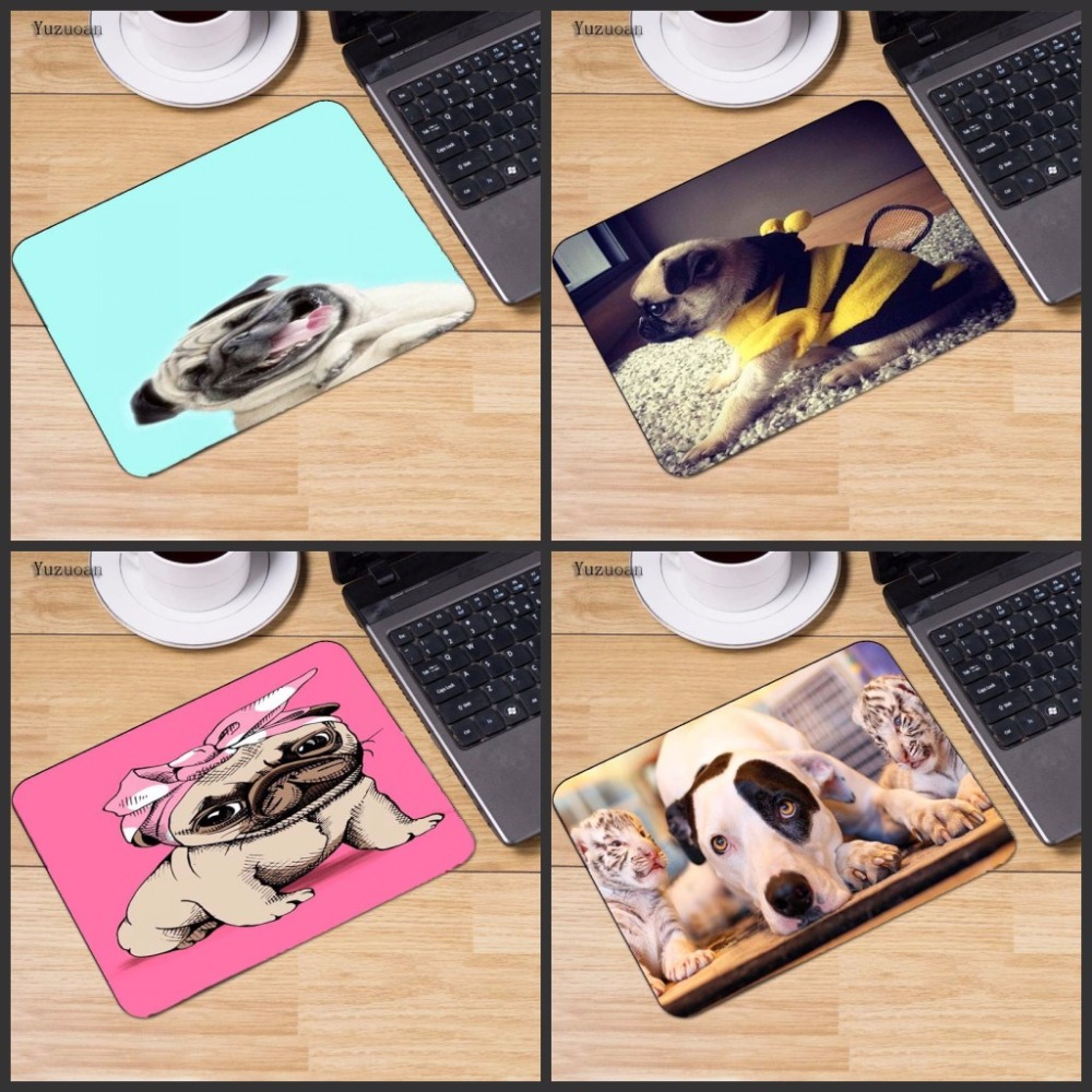 Yuzuoan Vivid Hot Pug Dog New Design Silon Anti-slip Mousepad Computer Gaming Mouse Pad For Optal Trackball Mouse As Gift