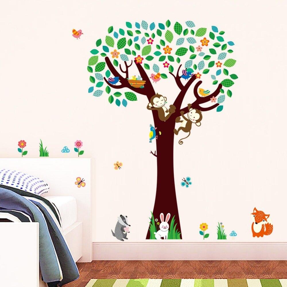 4 Cute Monkeys Wall Decals Sticker Nursery Decor Mural: Cute Monkeys Fox Birds Tree Wall Stickers For Kids Rooms