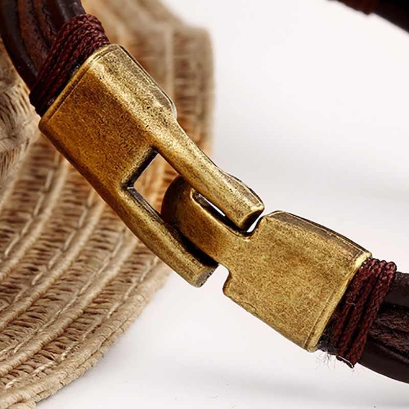 Nam nữ Lắc Tay Dây Đeo Tay Vòng Tay Braslet Nam \\\ của Vintage Hợp Kim Vòng Tay Da Màu Nâu Trang Sức Nam 8.85 inch X1