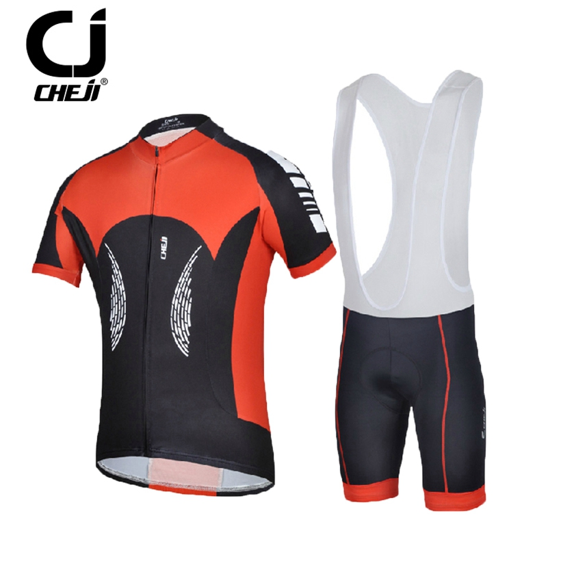 CHEJI Black Red cycling jersey sets mens short sleeve clothing sets bike bib shorts kit Quick Dry outdoor sports suit cheji women mtb cycling jersey sets bike outdoor sportswear maillot clothing quick dry cycling clothing long sleeve jersey