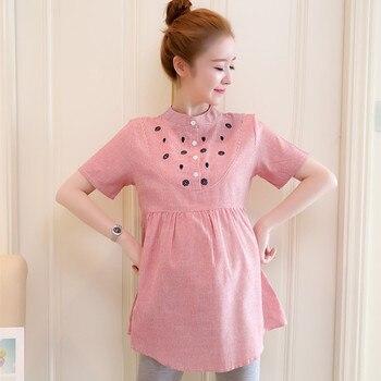 560bcb6d1 Nueva moda blusas de maternidad linda camisa bordada de lino de algodón  para mujeres embarazadas ropa