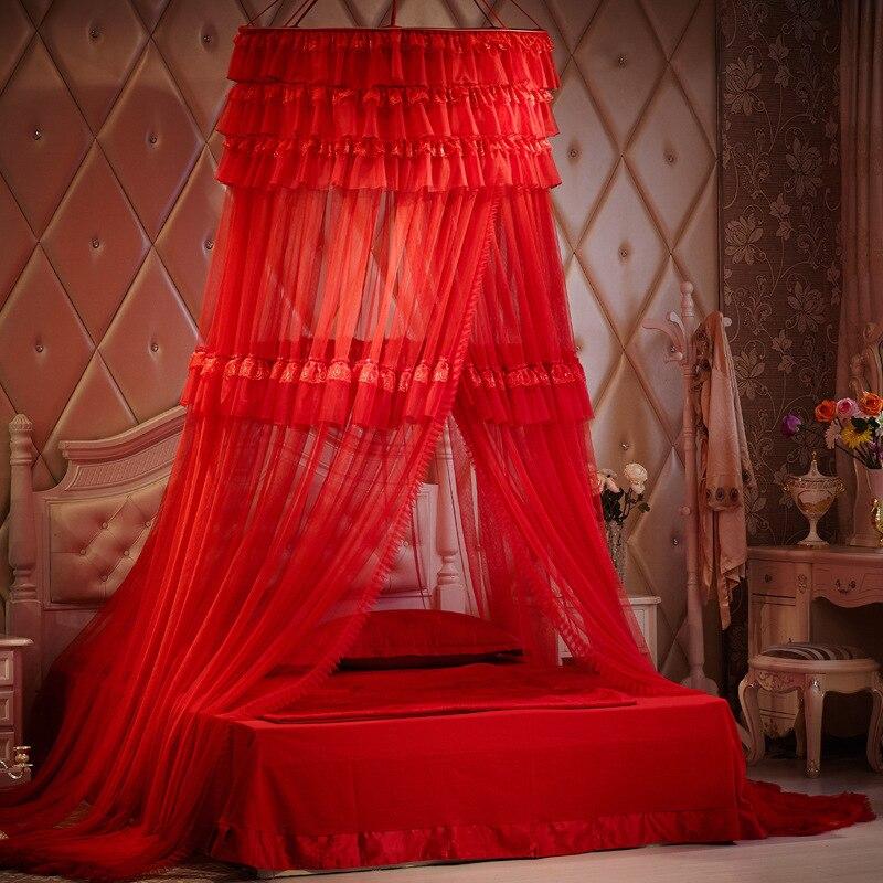 Rouge romantique dentelle bord accroché dôme moustiquaire princesse insecte lit auvent filet dentelle rideaux pour lit Double-in Moustiquaire from Maison & Animalerie    1