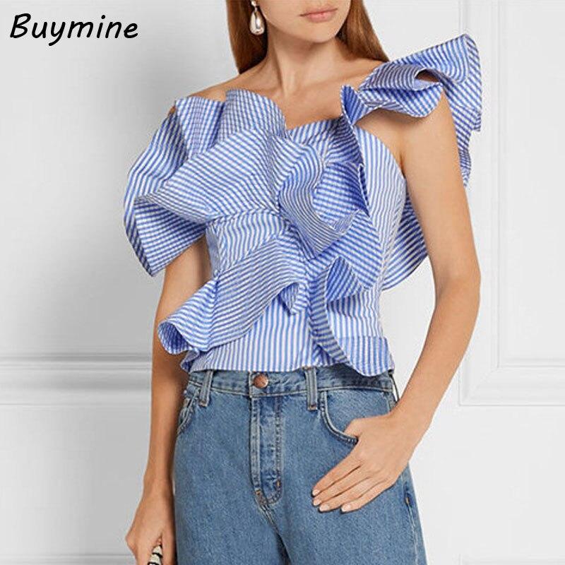 Irregural Rayas Blusa Mujeres Sexy Un Hombro Riza La Blusa Camisa de Verano Eleg