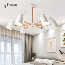 TRAZOS Metal Antlers White Adjustable Lampshade Pendant Light For Living Room Lamps Art Parlor Study Led Wood E27 Lights