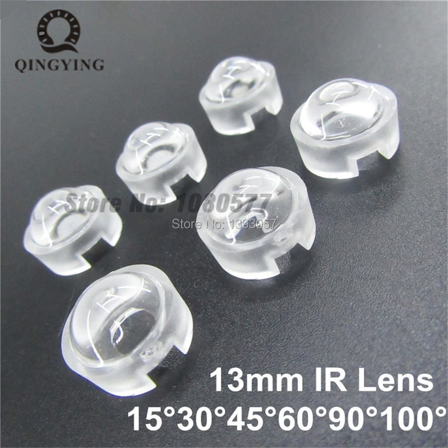 13mm 1W 3W LED Mini Lens 15 30 45 60 90 100 Degree Needn't Holder Synthetical IR LED Power Lenses Reflector Collimator