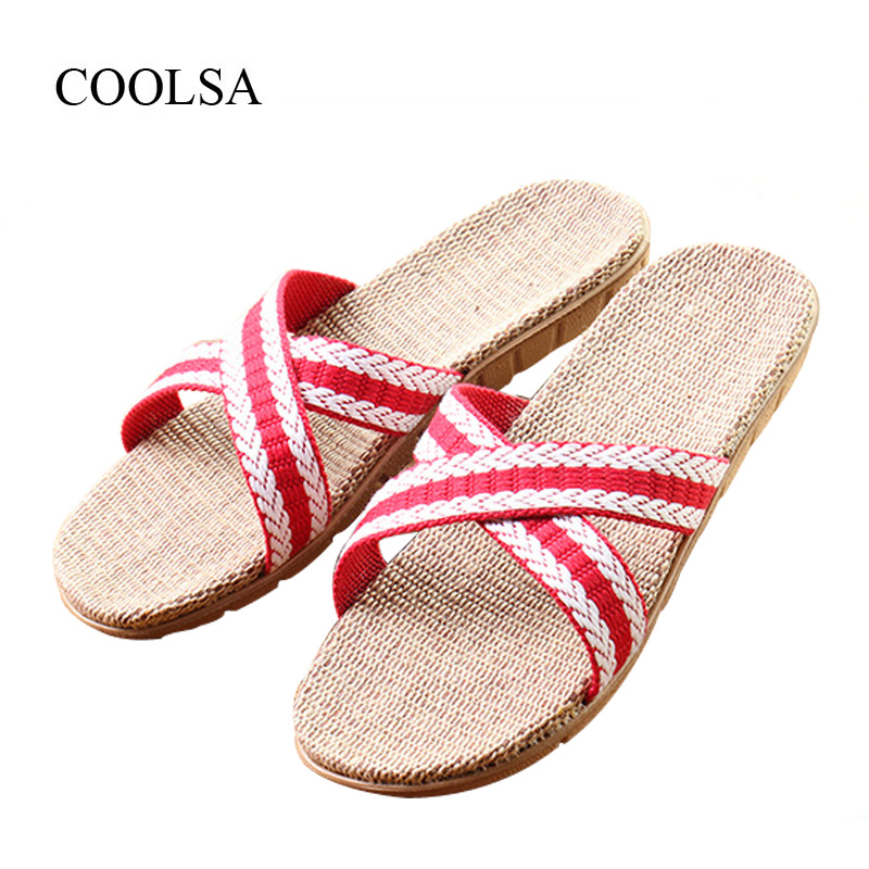 COOLSA Women's New Arrival Summer Flat Cross Vamp Canvas Linen Slippers Women Beach Flip Flops Indoor Flax Slippers Home Shoes coolsa women s summer flat non slip linen slippers indoor breathable flip flops women s brand stripe flax slippers women slides