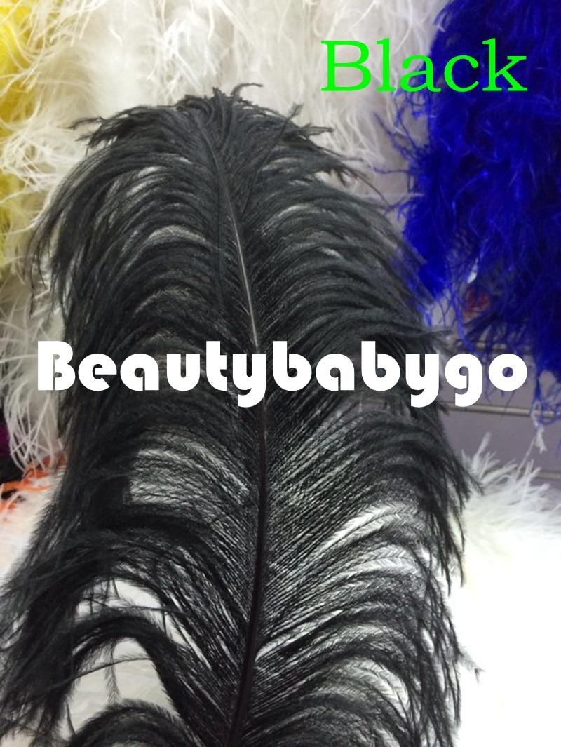 Hot vente! 25 PCS noir couleur autruche aile feahters 28   30 polegada / 70   75 cm plumes d'autruche naturel pour maîtresses de mariage dans Plume de Maison & Jardin