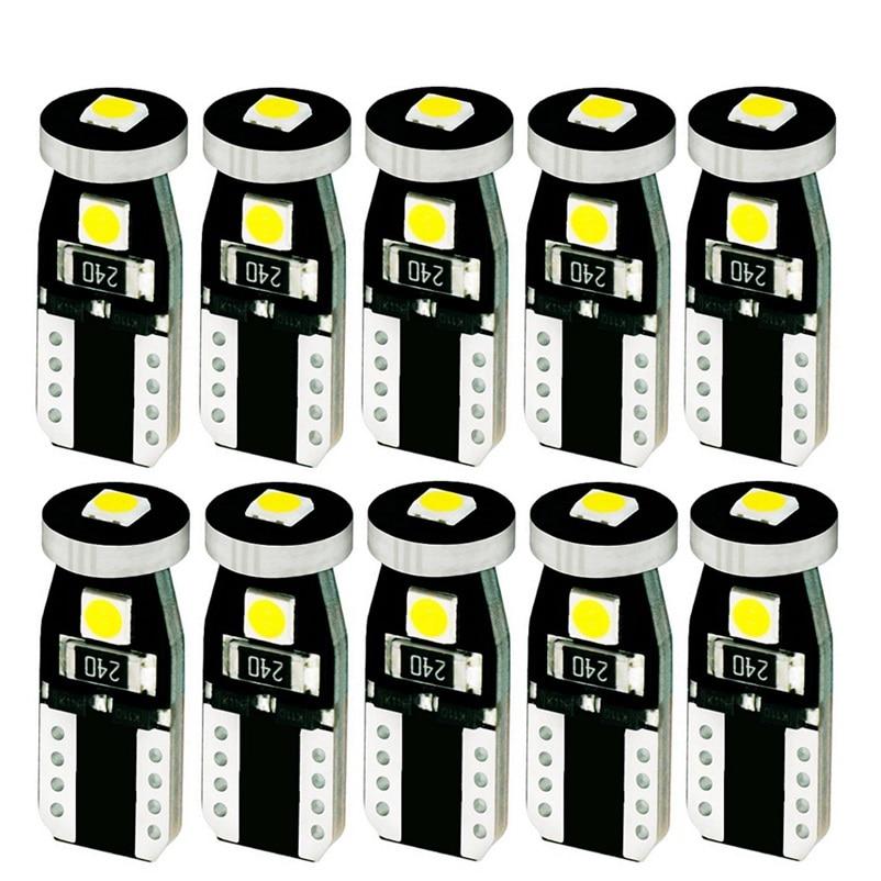 10 шт., Автомобильные светодиодные лампы T10 3 SMD 3030
