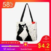 12b0ca6d5ed1f Dostosowane Cute Cat drukowania kobiet torebki pościel dźwigać torby z  nadrukiem Logo Casual podróże torby plażowe