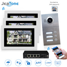 купить WIFI IP Video Door Phone Intercom System Video Doorbell 7'' Touch Screen for 3 Floors Apartment/8 Zone Alarm Support Smart Phone дешево