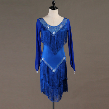 lq071  robe latine femme  latin practice wear robe danse latine samba dress latin dancewear women fringe tassel long sleeve