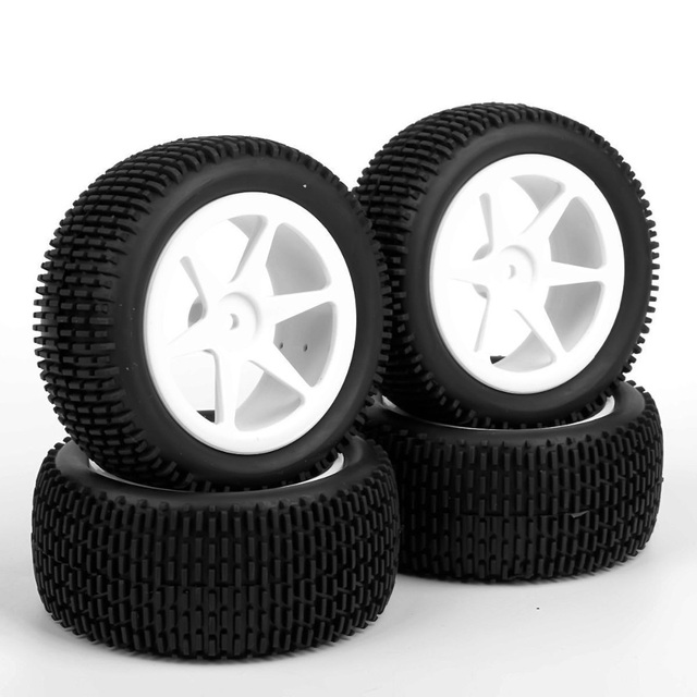 4 stks/set 12mm Hex Buggy Banden Voor en Achter Rubber Tyre Wheel Rim 25034 + 27013 Fit RC 1:10 off-Road Buggy Auto Speelgoed Accessoires