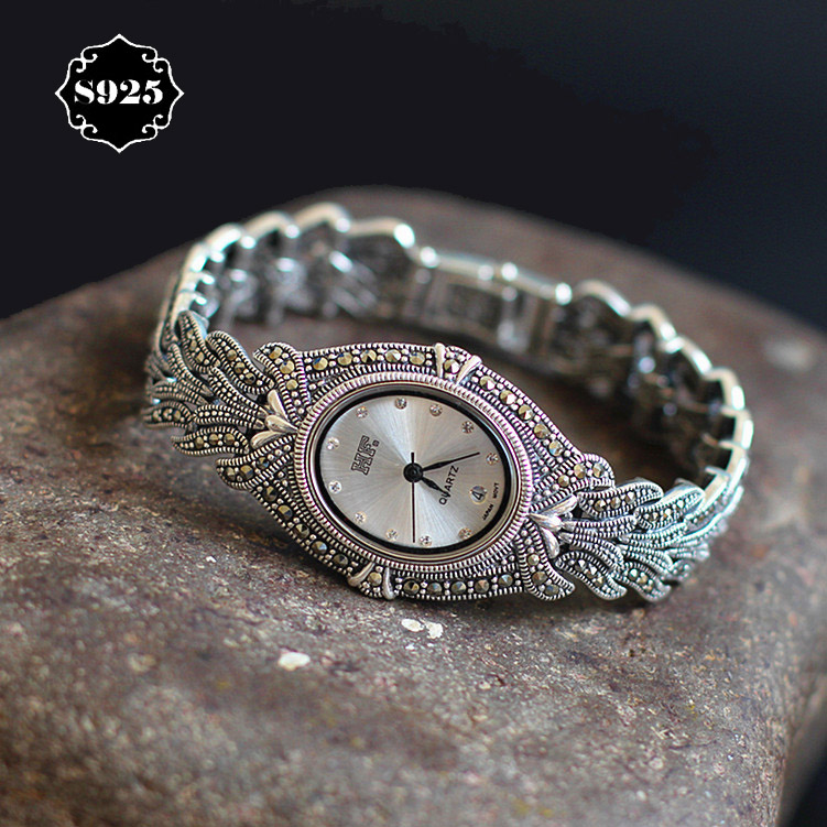 Limited Edition Classic Elegant S925 Silver Pure Thai Silver Bracelet Watches Thailand Process Rhinestone Bangle Dresswatch