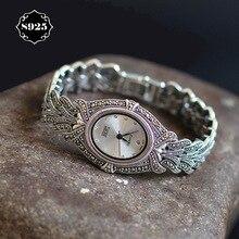Édition limitée Classique Élégant S925 Argent Pur Thai Argent Bracelet Montres Processus Thaïlande Strass Bracelet Dresswatch