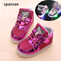 Cesta de la moda children shoes con luz led up kids niños niñas luminosa zapatillas chaussure enfant de zapatos brillantes luminosos