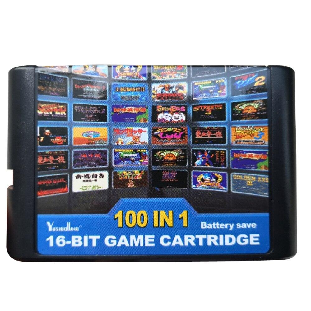 10pcs For M-egadrive For G-enesis console Games Cartridge 16 bit 100 in 1 For S-ega M-ega Drive M-D